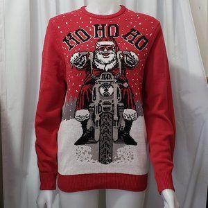 Motorcycle Santa Christmas Sweater! NWT